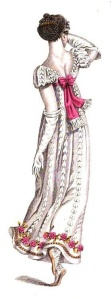 See the extra flounce? May 1811. *Note, this one specifically says it was a French design, which I think explains the low cut back.