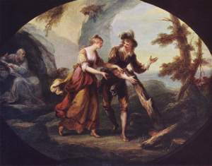 "Maria and Ferdinand in The Tempest by Angelica Kauffman, 1782. My favorite and possible inspiration cover for ""Never Until This Day."""