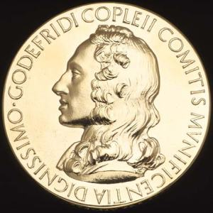 The Copley Medal named after Sir Godfrey Copley, 2nd baronet (c. 1653-1709).