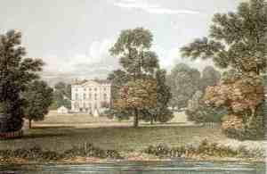 Pishiobury Hall Coloured lithograph from Neale's, Views of Seats 1821found on Wikipedia.