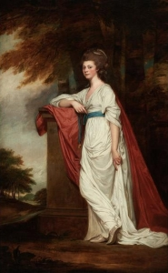 Rose Gardiner (1757-1835), daughter and heiress of Edward Gardiner (d.1779) of Pishiobury, Hertfordshire, and wife of Jeremiah III Milles (1751-1797). Portrait c. 1780/83 by George Romney. Wikimedia Commons