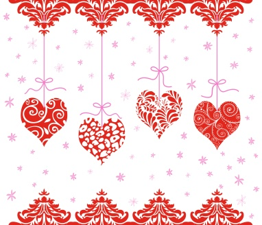 Red Valentine Hearts Hanging in a Row